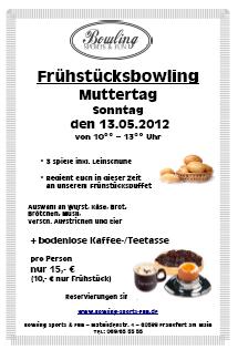 Frühstücksbowling am Muttertag den 13.05.2012