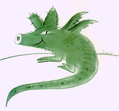 GrünGürtel-Tier Zeichnung © Robert Gernhardt