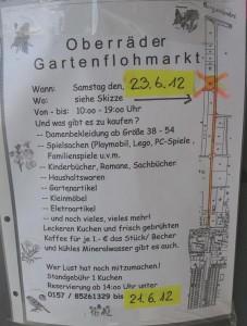 Flyer Oberräder Gartenflohmarkt